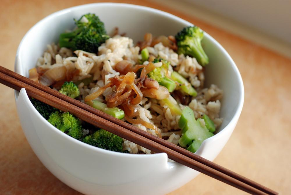 Teriyaki steamed greens with rice pilaf This is a wonderful crunchy flavoursome dish, full of phytonutrients & natural chlorophyll. The tamari can sometimes be a little salty so look for a low salt option & always taste as you are preparing to suit your palate
